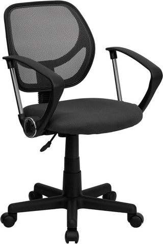 Mid-Back Gray Mesh Task Chair and Computer Chair with Arms [WA-3074-GY-A-GG]
