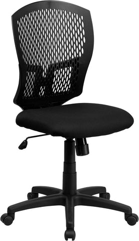 Mid-Back Designer Back Task Chair with Padded Fabric Seat [WL-3958SYG-BK-GG]