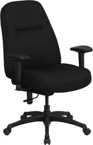 HERCULES Series 400 lb. Capacity High Back Big & Tall Black Fabric Office Chair with Height Adjustable Arms and Extra WIDE Seat [WL-726MG-BK-A-GG]
