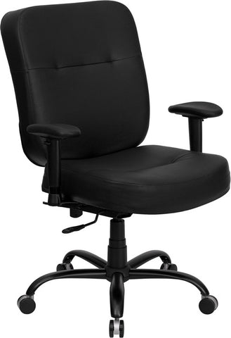 HERCULES Series 400 lb. Capacity Big and Tall Black Leather Office Chair with Arms and Extra WIDE Seat [WL-735SYG-BK-LEA-A-GG]
