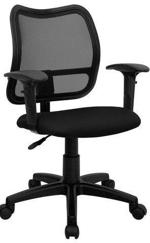 Mid-Back Mesh Task Chair with Black Fabric Seat and Arms [WL-A277-BK-A-GG]