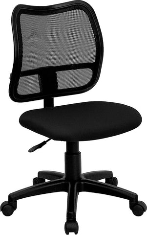Mid-Back Mesh Task Chair with Black Fabric Seat [WL-A277-BK-GG]
