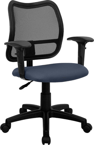Mid-Back Mesh Task Chair with Navy Blue Fabric Seat and Arms [WL-A277-NVY-A-GG]