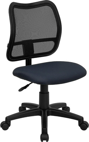 Mid-Back Mesh Task Chair with Navy Blue Fabric Seat [WL-A277-NVY-GG]