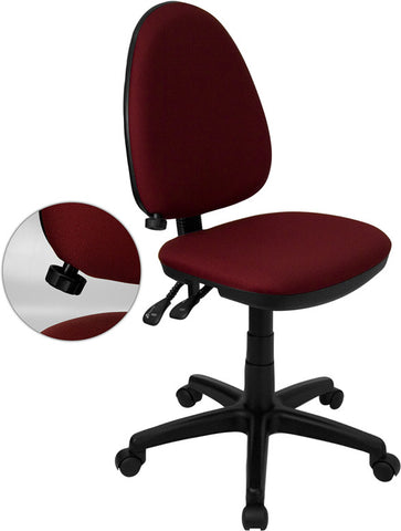Mid-Back Burgundy Fabric Multi-Functional Task Chair with Adjustable Lumbar Support [WL-A654MG-BY-GG]