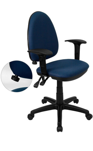 Mid-Back Navy Blue Fabric Multi-Functional Task Chair with Arms and Adjustable Lumbar Support [WL-A654MG-NVY-A-GG]