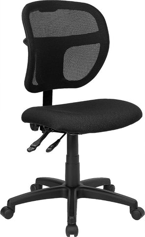 Mid-Back Mesh Task Chair with Black Fabric Seat [WL-A7671SYG-BK-GG]