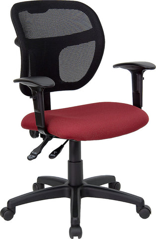 Mid-Back Mesh Task Chair with Burgundy Fabric Seat and Arms [WL-A7671SYG-BY-A-GG]