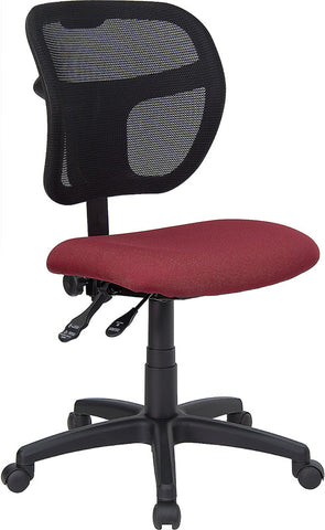 Mid-Back Mesh Task Chair with Burgundy Fabric Seat [WL-A7671SYG-BY-GG]