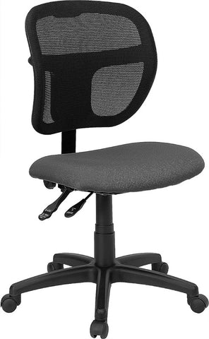 Mid-Back Mesh Task Chair with Gray Fabric Seat [WL-A7671SYG-GY-GG]