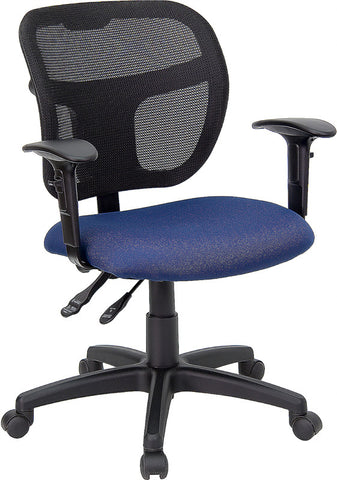 Mid-Back Mesh Task Chair with Navy Blue Fabric Seat and Arms [WL-A7671SYG-NVY-A-GG]