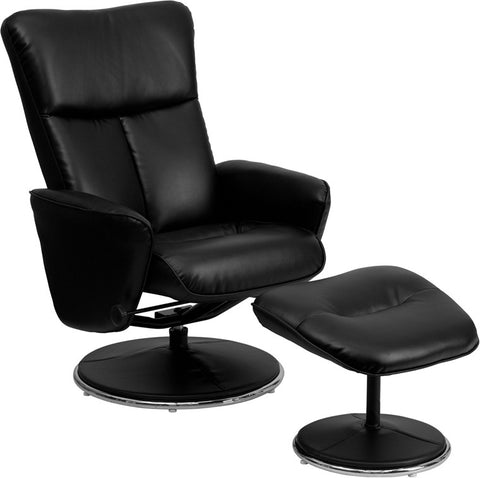 Contemporary Black Leather Recliner and Ottoman with Circular Leather Wrapped Base [BT-70125-BK-FLASH-GG]