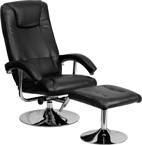 Contemporary Black Leather Recliner and Ottoman with Chrome Base [BT-70130-BK-CALCUTTA-GG]