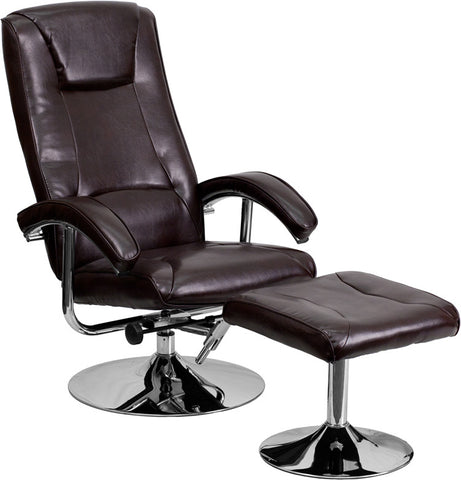 Contemporary Brown Leather Recliner and Ottoman with Chrome Base [BT-70130-BRN-CALCUTTA-GG]