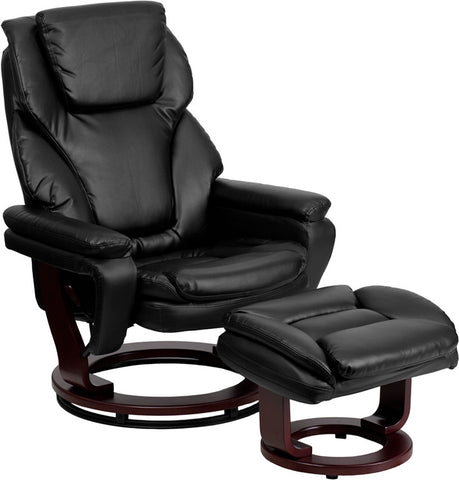 Contemporary Black Leather Recliner and Ottoman with Swiveling Mahogany Wood Base [BT-70222-BK-FLAIR-GG]
