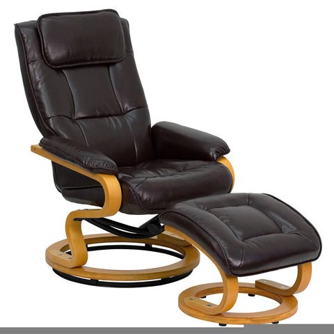 Contemporary Brown Leather Recliner and Ottoman with Swiveling Maple Wood Base [BT-7615-BN-CURV-GG]