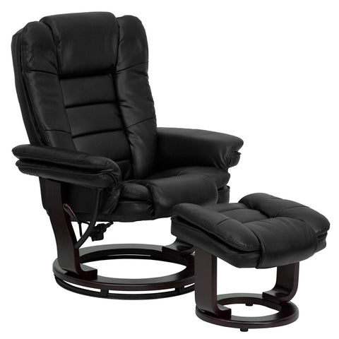 Contemporary Black Leather Recliner and Ottoman with Swiveling Mahogany Wood Base [BT-7818-BK-GG]