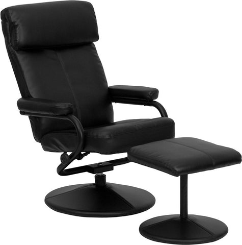 Contemporary Black Leather Recliner and Ottoman with Leather Wrapped Base [BT-7863-BK-GG]