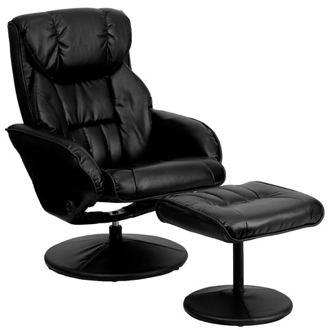 Contemporary Black Leather Recliner and Ottoman with Circular Leather Wrapped Base [BT-7895-BK-PINPOINT-GG]