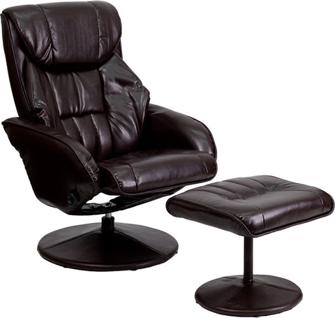 Contemporary Brown Leather Recliner and Ottoman with Circular Leather Wrapped Base [BT-7895-BRN-PINPOINT-GG]