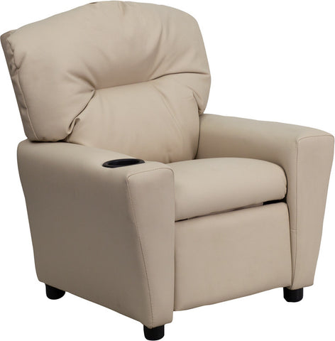 Contemporary Beige Vinyl Kids Recliner with Cup Holder [BT-7950-KID-BGE-GG]