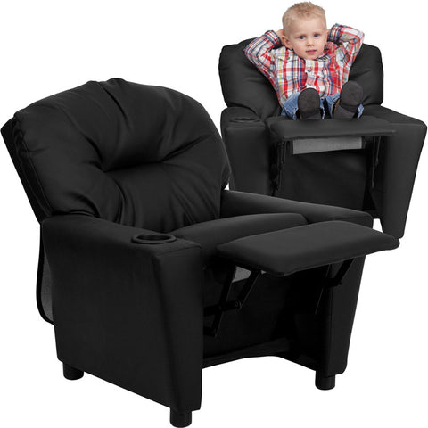 Contemporary Black Leather Kids Recliner with Cup Holder [BT-7950-KID-BK-LEA-GG]