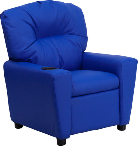 Contemporary Blue Vinyl Kids Recliner with Cup Holder [BT-7950-KID-BLUE-GG]
