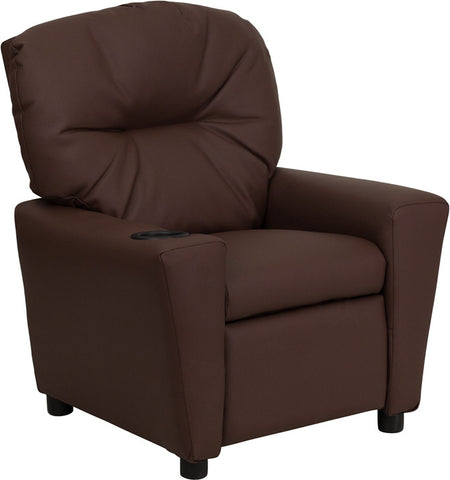 Contemporary Brown Leather Kids Recliner with Cup Holder [BT-7950-KID-BRN-LEA-GG]