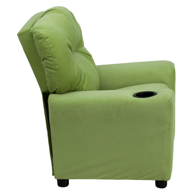 Marvelous Contemporary Avocado Microfiber Kids Recliner With Cup Machost Co Dining Chair Design Ideas Machostcouk
