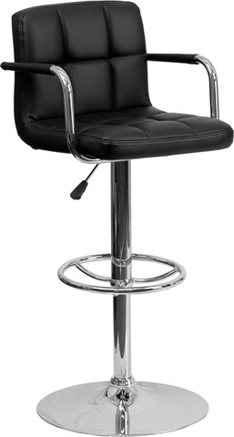 Contemporary Black Quilted Vinyl Adjustable Height Bar Stool with Arms and Chrome Base [CH-102029-BK-GG]