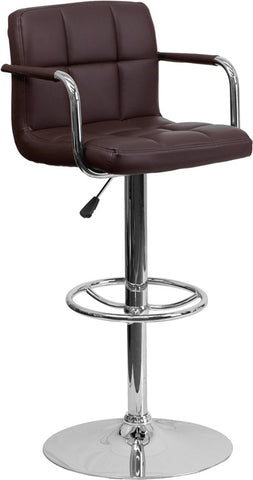 Contemporary Brown Quilted Vinyl Adjustable Height Bar Stool with Arms and Chrome Base [CH-102029-BRN-GG]