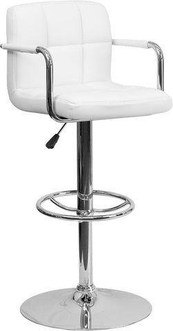 Contemporary White Quilted Vinyl Adjustable Height Bar Stool with Arms and Chrome Base [CH-102029-WH-GG]