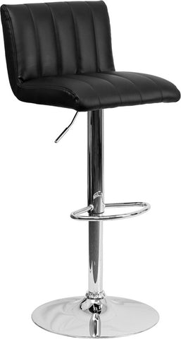 Contemporary Black Vinyl Adjustable Height Bar Stool with Chrome Base [CH-112010-BK-GG]