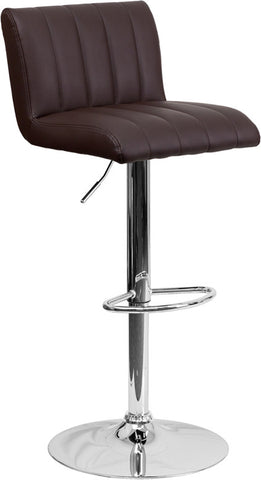 Contemporary Brown Vinyl Adjustable Height Bar Stool with Chrome Base [CH-112010-BRN-GG]