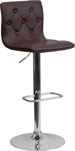 Contemporary Tufted Brown Vinyl Adjustable Height Bar Stool with Chrome Base [CH-112080-BRN-GG]