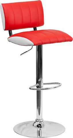 Contemporary Two Tone Red & White Vinyl Adjustable Height Bar Stool with Chrome Base [CH-122150-RED-GG]