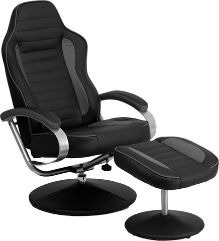 Racing Style Black and Gray Vinyl Recliner and Ottoman [CH-125695-GG]
