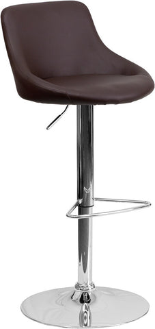 Contemporary Brown Vinyl Bucket Seat Adjustable Height Bar Stool with Chrome Base [CH-82028-MOD-BRN-GG]