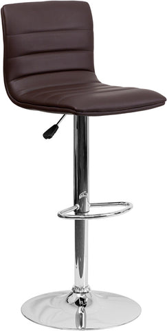 Contemporary Brown Vinyl Adjustable Height Bar Stool with Chrome Base [CH-92023-1-BRN-GG]