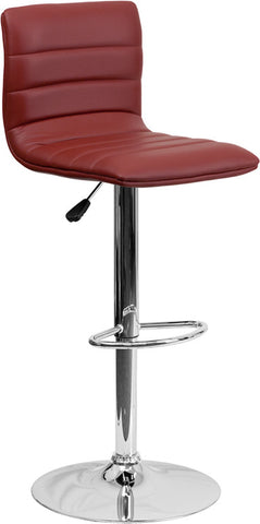 Contemporary Burgundy Vinyl Adjustable Height Bar Stool with Chrome Base [CH-92023-1-BURG-GG]