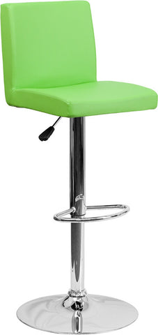 Contemporary Green Vinyl Adjustable Height Bar Stool with Chrome Base [CH-92066-GRN-GG]