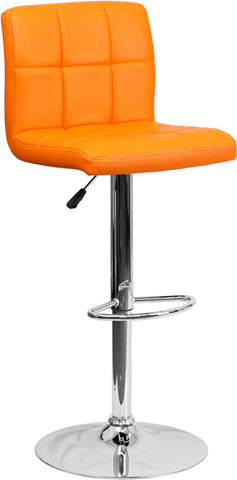 Contemporary Orange Quilted Vinyl Adjustable Height Bar Stool with Chrome Base [DS-810-MOD-ORG-GG]