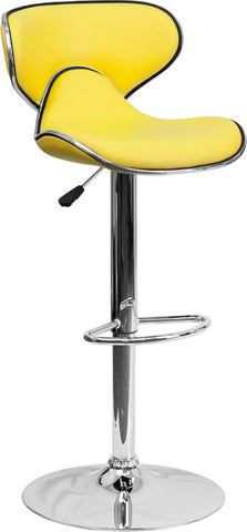 Contemporary Cozy Mid-Back Yellow Vinyl Adjustable Height Bar Stool with Chrome Base [DS-815-YEL-GG]
