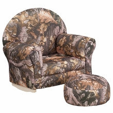 KIDS CAMOUFLAGE FABRIC ROCKER CHAIR AND FOOTREST [SF-03-OTTO-CAM-GG]