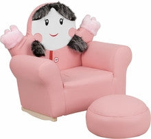 KIDS PINK LITTLE GIRL ROCKER CHAIR AND FOOTREST [HR-27-GG]