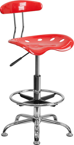 Vibrant Cherry Tomato and Chrome Drafting Stool with Tractor Seat [LF-215-CHERRYTOMATO-GG]