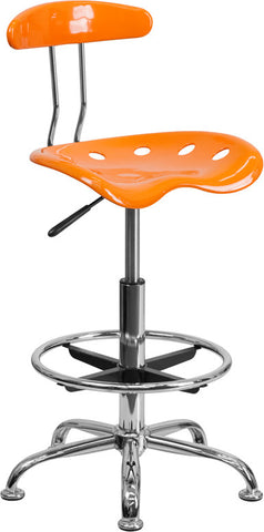 Vibrant Orange and Chrome Drafting Stool with Tractor Seat [LF-215-ORANGEYELLOW-GG]