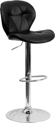 Contemporary Tufted Black Vinyl Adjustable Height Bar Stool with Chrome Base [SD-2208-BK-GG]