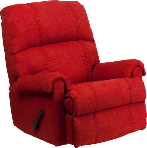 Contemporary Flatsuede Red Rock Microfiber Rocker Recliner [WM-8700-216-GG]