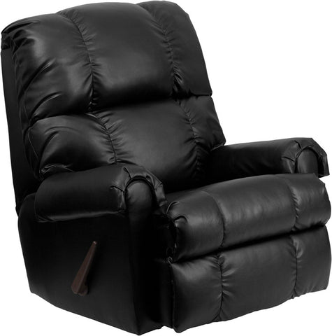 Contemporary Apache Black Leather Rocker Recliner [WM-8700-371-GG]